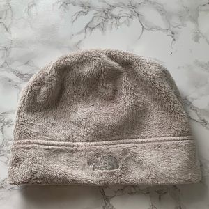 The North Face fleece hat cream color